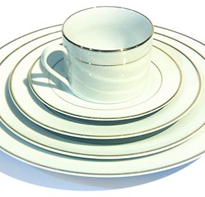Double Rimmed White China
