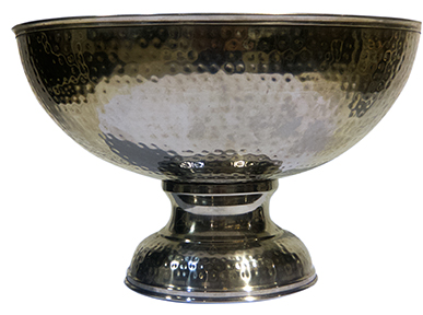 Silver Hammered Punch Bowl
