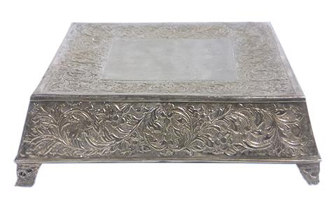 Ornate Square Cake Stand in Silver