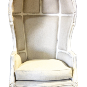 Hooded Ivory Linen Chair