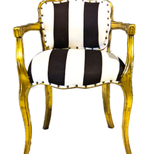 Black and White Striped Side Chair