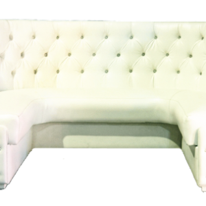 U-Shaped Leather Tufted Banquette